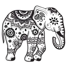 Mandala Elephant, Henna Elephant, Elephant Tattoo Design, Elephant Design, Elephant Tattoos, Colorful Elephant Tattoo, Indian Elephant Art, Zentangle Elephant, Elephant Stencil