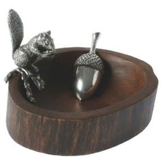 Standing Squirrel Nut Bowl with Acorn Scoop