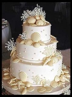 Indian Weddings Inspirations. Ocean, Underwater, Beach theme wedding cake. Repinned by #indianweddingsmag indianweddingsmag...