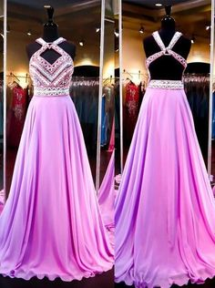Sexy A-Line Prom Dresses,Long Halter Prom Dresses,Beading Evening Dresses