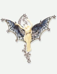 Edmond Becker - An Art Nouveau BELLE DE NUIT brooch, circa 1900. Composed of ivory, diamonds, plique-à-jour enamel, silver-topped gold and platinum. A carved ivory figure of Night with a rose-cut diamond sash, extending blue plique-à-jour enamel wings scattered with diamond collets, enhanced by a diamond trim and diamond stars, set against an old European and rose-cut diamond crescent moon and star backdrop, mounted in platinum and silver-topped gold.