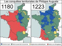 Map of the evolution of the territory of France between 1180 and 1223 during the reign of Philippe Auguste Philippe Auguste, France Map, Plantagenet, French History, History Timeline, Picts, Historical Maps, World History, Genealogy