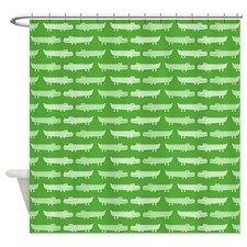 Good Cute Green Alligator Pattern Shower Curtain For