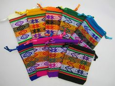 Jewellery Bag Pouch Peru Inca Hand Woven Wool Manta Design Colourful Fair Trade
