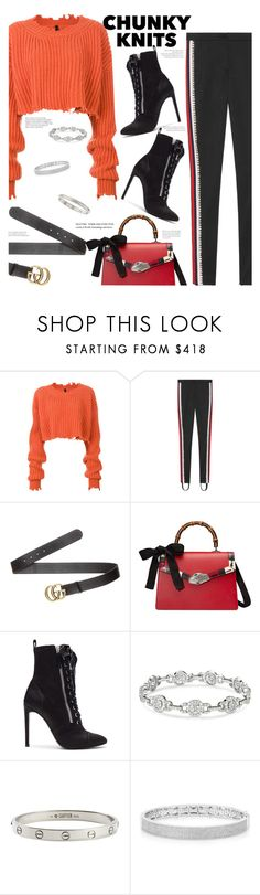 """""""Untitled #140"""" by jewellife ❤ liked on Polyvore featuring Unravel, Gucci, Giuseppe Zanotti, Cartier, Anne Sisteron and chunkyknits"""