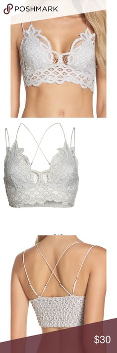 596db23bc17 NWOT Free People Adella Bralette Brand new! Beautiful Lace bralette. White  with adjustable straps