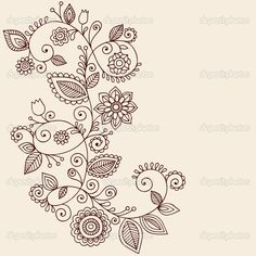Henna Tattoo Paisley Flowers and Vines Doodles Vector by blue67 - Imagen vectorial