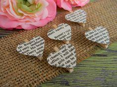 Pride & Prejudice Hearts Clothespins Wedding Decor Rustic Shabby Chic. $5.00, via Etsy.