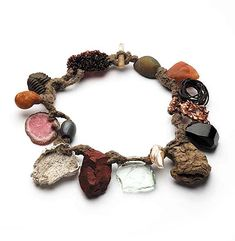 Iris Bodemer Neckpiece: Untitled, 2008 Rutilated quartz, agate, aventurine, iron, copper, jet, wood, pearl, glass, jasper, silver, silicon, rhodochrosite, amber, fossil, nylon, wool 25 x 25 x 3 cm From the work Ingredients