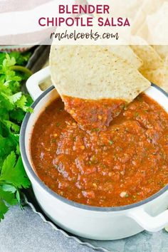 This may be the best salsa yet! Smoky chipotle salsa is a magical blend of fire roasted tomatoes, chipotle peppers in adobo, and the fresh flavors of onion, garlic, cilantro, and lime. Baked Corn Tortilla Chips, Baked Corn Tortillas, Real Food Recipes, Vegetarian Recipes, Cooking Recipes, Healthy Recipes, Dip Recipes, Chipotle Pepper, Fire Roasted Tomatoes