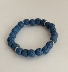 Blue Lava Beads and Sterling Accents   Bangle  by FallviewJewelry