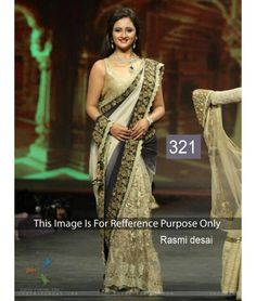 Bollywood Designer Party Wear Saree Rasmi Desai Cream & Gray