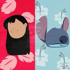 Lilo and Stitch - Minimalist by raquelsegal on DeviantArt Disney Canvas Paintings, Disney Canvas Art, Simple Canvas Paintings, Small Canvas Art, Mini Canvas Art, Acrylic Painting Canvas, Disney Art, Lilo And Stitch Shirt, Lilo Et Stitch