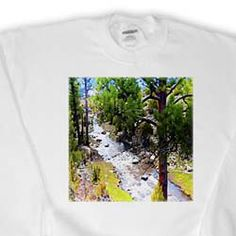 View of River in Pine Valley, Utah Flowing Through Trees and Given Vibrancy of Miniature Sweatshirt