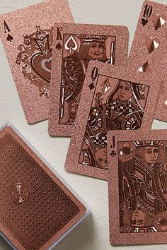 rose gold metallic playing cards -these are so pretty Gold Playing Cards, Rose Gold Aesthetic, Gold Everything, Copper Rose, Photo Wall Collage, Aesthetic Wallpapers, Favorite Color, Creations, Aesthetics