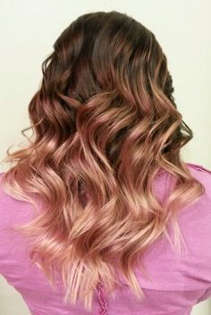 Rose gold ombre. Long layer haircut