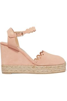 Castañer - Caterina Scalloped Cutout Suede Wedge Espadrilles - Blush - IT41