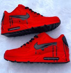 Red Nike air max dripping with black All Red Nike Shoes, Red Nike Shoes Womens, Nike Air Shoes, Nike Air Max, Nike Sneakers, Air Max 90, Red Sneakers, Red Air Max, Red And Black Shoes