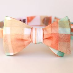 peach aqua and taupe freestyle bow tie by xoelle on Etsy, $36.00