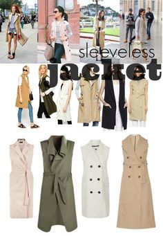 The ultimate in cool girl chic, sleeveless coats and jackets can be thrown over casual and professional attire alike to finish a look. Sleevless Jacket, Sleeveless Trench Coat, Trench Coat Dress, Vest Outfits, Fall Outfits, Casual Outfits, Ärmelloser Mantel, Modele Hijab, Professional Attire