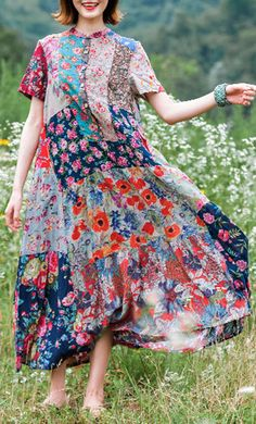 Casual Summer Dresses, Stylish Dresses, Women's Fashion Dresses, Casual Dresses For Women, Summer Maxi, Cotton Tunics, Cotton Dresses, Floral Plus Size Dresses, Chiffon