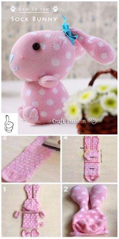 DIY Sock Bunny Sew Patterns - DIY Polka Dot Sock Bunny Tutorial - Diy and crafts interests Diy Sock Toys, Sock Crafts, Bunny Crafts, Easter Crafts, Diy And Crafts, Decor Crafts, Softies, Stuffed Animal Patterns, Diy Stuffed Animals
