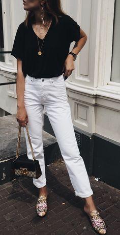 #summer #outfits Black Top + White Jeans + Floral Pumps