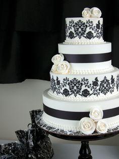 Black Damask Wedding Cake - edible prints