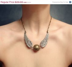 golden snitch harry potter nerd necklace