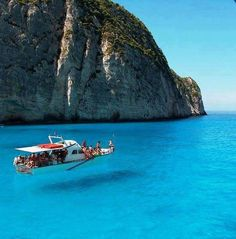Zakynthos Island, Ionian Sea, Greece. Looks like the boat is floating in the air