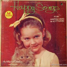 """""""Happy Songs (For Happy Kids & Kittens)"""", The Hollywood Orchestra and Singers, Tops Records - vintage album cover"""