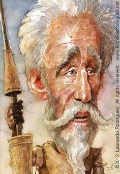 Peter O'Toole ( The Man of La Mancha, 1972 )  by Leonardo Rodriguez  Technique: watercolor  Dimensions: 36 x 25 cmts