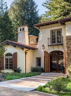 Tuscan details mediterranean style shutters, mediterranean house exterior, mediterranean homes, spanish style houses Mediterranean Style Homes, Spanish Style Homes, Spanish House, Spanish Revival, Spanish Colonial, Mediterranean House Exterior, Spanish Tile Roof, Mediterranean Architecture, Old Houses