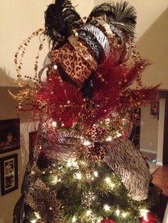 Leopard print scarf from #Goodwill used on #Animal themed #Christmas ...