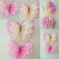 Easy crafts For Bedroom - Girls birthday party decorations butterfly bedroom hanging Tissue paper pom poms Tissue Paper Flowers, Paper Butterflies, Papel Tissue, Tissue Poms, Beautiful Butterflies, Butterfly Birthday Party, Birthday Diy, Birthday Ideas, Birthday Parties