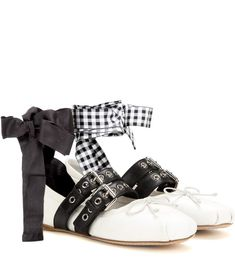 Cute casual flats to wear for Fall - MIU MIU Buckle-embellished leather  ballerinas