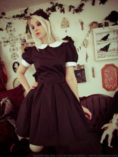 77b4abbcb00 Gloomth gothic doll dress with contrasting peter pan collar and cuffs