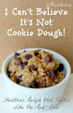 "One of my kids' favorite snacks: ""healthy"" cookie dough alternative. It's SO good!!"