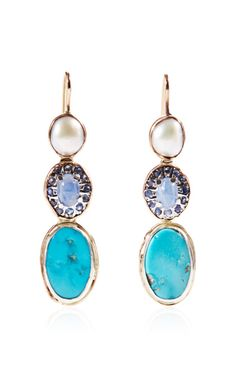 One Of A Kind Rose Gold Earrings With Pearl, Sapphire And Turquoise by Sandra Dini - Moda Operandi