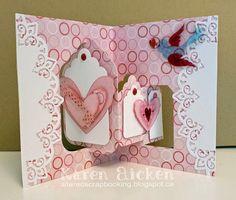 Karen Aicken using the Pop it Ups Tags Pivot Card, Paris Edges and Heart Pivot card dies by Karen Burniston for Elizabeth Craft Designs. - Valentine Tag Pivot