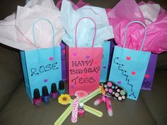 10 Year Old Spa Party Favor Bags Nail Polish FilesMake Up Etc Favors By DM Events Design Dmeventsanddesign