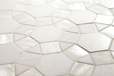 NATURAL SHELL MOSAICS - Thassos Polished Marble & White Shell Hexalogon Mosaic. These shell mosaics are beautiful, glamorous and durable which makes them perfect for bathrooms and kitchens. Complete Tile Collection  #ShellMosaics