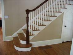 Bottom step and closet under stairs