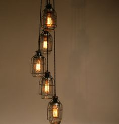 Industrial Mason Jar Pendant Light - Clear Quart Wide Mouths for Edison Style Marconi Bulbs