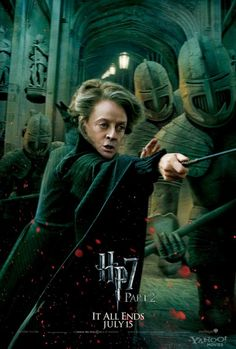 """Minerva McGonagall as played by Dame Maggie Smith. She played McGonagall in all the movies. This is a still shot from """"Harry Potter and the Deathly Hallows: Part 2"""""""