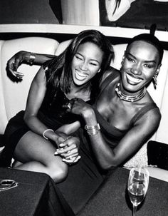 Vintage Black Glamour | Grace Jones and Naomi Campbell hamming it up for the cameras. NYC 1990s.