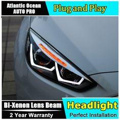 534.46$  Buy now - http://aliqiq.worldwells.pw/go.php?t=32657421884 - car styling For Ford Focus headlights U angel eyes DRL 2015 For Ford Focus LED light bar DRL Q5 bi xenon lens h7 xenon