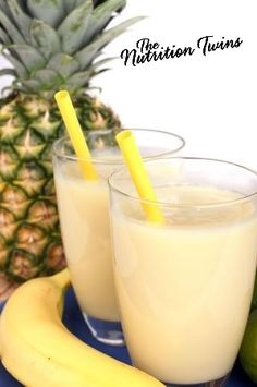 Ginger-nana Pineapple Smoothie   Rich & Creamy   Great Way to Start the Day   Only 232 Calories   Satisfying, made with Greek Yogurt   15 Grams Protein   For MORE RECIPES, fitness & nutrition tips please SIGN UP for our FREE NEWSLETTER www.NutritionTwins.com