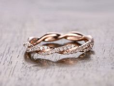 Diamond Wedding Band,Full Eternity, Anniversary Ring, 14K Rose Gold,Twist Unique…