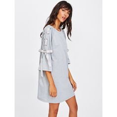 SheIn(sheinside) Ribbon Lace Up Raglan Sleeve Marled Tee Dress ($15) ❤ liked on Polyvore featuring dresses, grey, tee shirt dress, three quarter sleeve dress, 3 4 length sleeve dress, t-shirt dresses and short grey dress